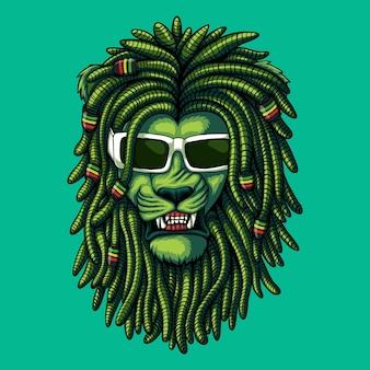 Illustration vectorielle de lion vert dreadlocks
