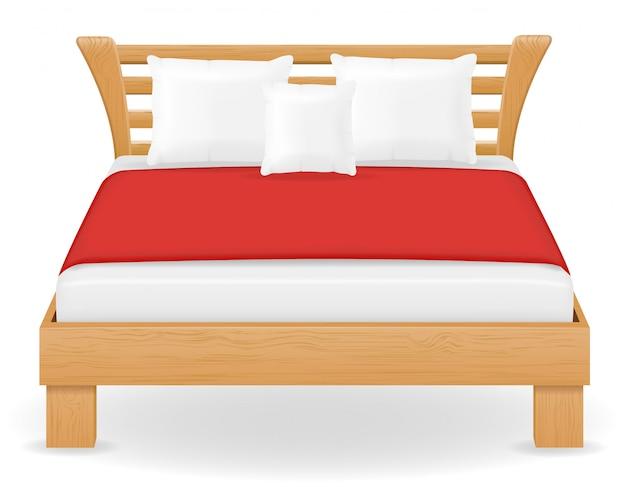 Illustration vectorielle de lit double meubles