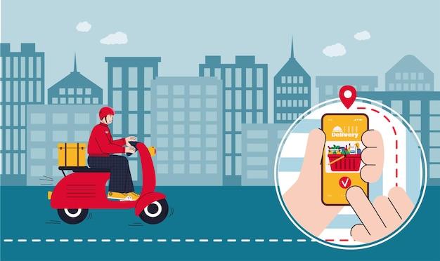 Illustration vectorielle de livraison de nourriture avec courrier ou livraison en scooter