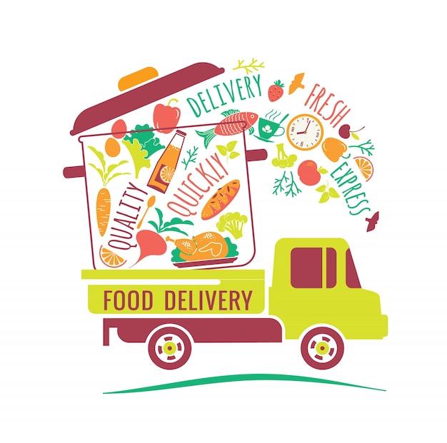 Illustration vectorielle de livraison de nourriture.