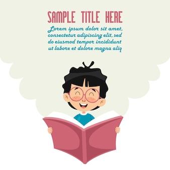 Illustration vectorielle de livre de lecture d'enfant