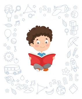 Illustration vectorielle de livre de lecture pour enfant