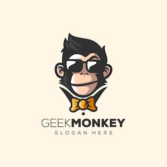Illustration vectorielle de logo singe génial