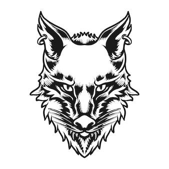 Illustration vectorielle de loup tête caractère