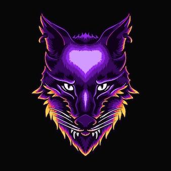 Illustration vectorielle de loup tête personnage