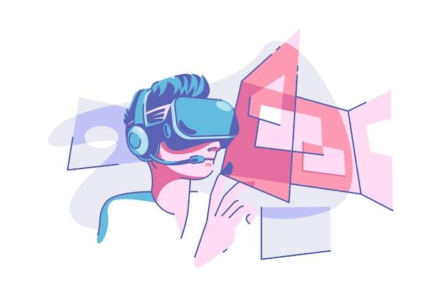 Illustration vectorielle de lunettes de réalité virtuelle. personne portant des lunettes vr et s'amusant dans un style plat. concept de technologie et de divertissement moderne. isolé
