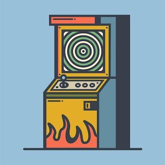 Illustration vectorielle de machine de jeu d'arcade rétro vieux jeu vidéo