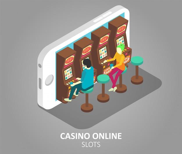 Illustration vectorielle de machines à sous mobiles en ligne de casino