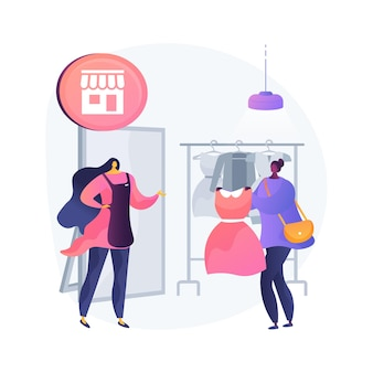 Illustration vectorielle de magasin assistant concept abstrait. achat de magasin de détail de centre commercial, travail de vendeuse de boutique, service à la clientèle, choix des consommateurs, métaphore abstraite du marché de la mode féminine.