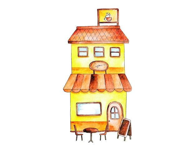 Illustration vectorielle de magasin avant aquarelle dessinés à la main