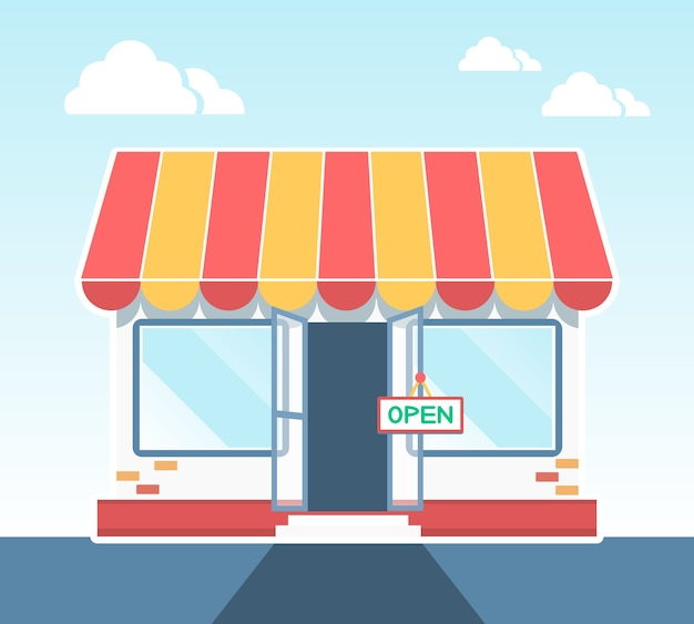 Illustration vectorielle de magasin, boutique ou marché