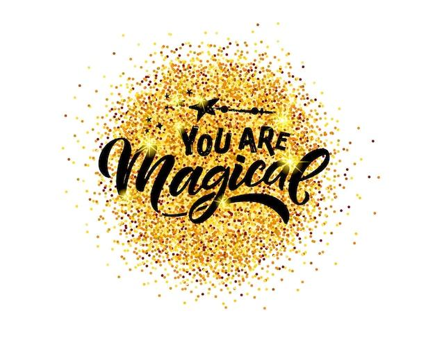 Illustration vectorielle magique esquissée à la main avec la typographie de lettrage cite la magie de motivation