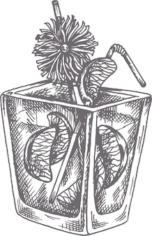 Illustration vectorielle de mai tai cocktail dessinés à la main dans le style de croquis
