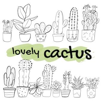 Illustration vectorielle de main dessinée cactus