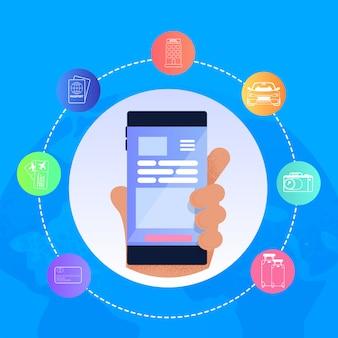 Illustration vectorielle main tenant un téléphone portable