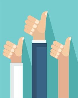 Illustration vectorielle de mains d'homme d'affaires avec les mêmes poses