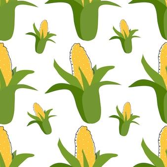 Illustration vectorielle de maïs plat fond transparent. fruits exotiques. modèle pour la conception d'un mode de vie sain. style scandinave. toile de fond d'été végétarien. art de la cuisine. affiche fraîche.