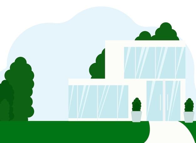 Illustration vectorielle d'une maison blanche moderne avec de grandes fenêtres et porte vitrée