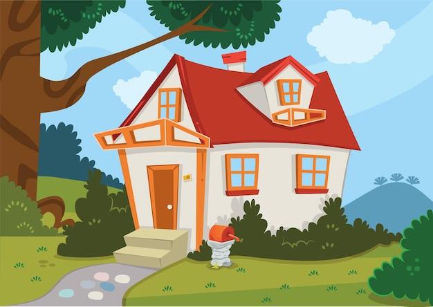 Illustration vectorielle d'une maison dans la nature