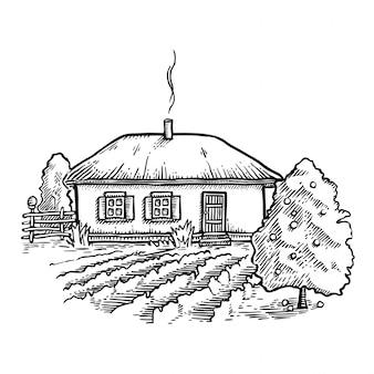 Illustration vectorielle de maison de ferme à la main