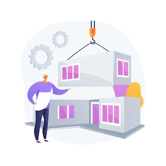 Illustration vectorielle de maison modulaire concept abstrait. bâtiment modulaire, construction de fondations permanentes, transport de composants de maison préfabriqués, métaphore abstraite de la technologie de l'empreinte écologique.