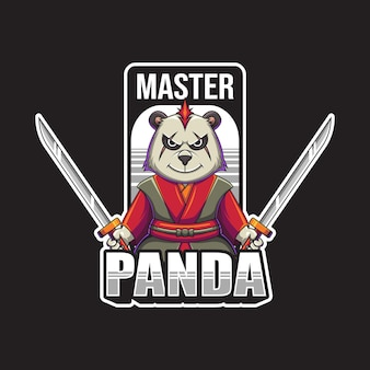 Illustration Vectorielle De Maître Panda Mascotte Logo Vecteur Premium