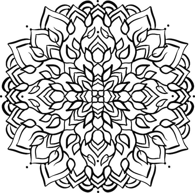 Illustration vectorielle de mandala abstrait ornement asiatique motif noir et blanc