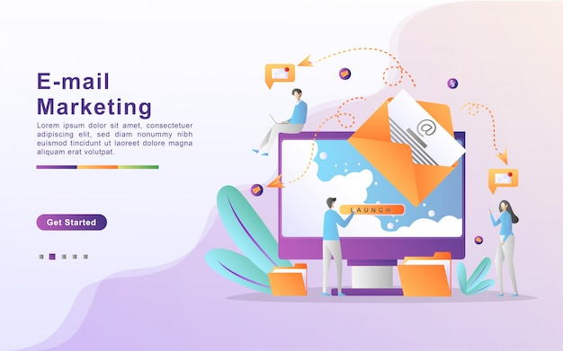 Illustration vectorielle de marketing par e-mail et concept de message avec