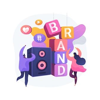 Illustration vectorielle de marque événement concept abstrait. gestion d'événements, organisation sponsorisée, présence de marque, stand de marketing, page de destination spécifique à l'événement, métaphore abstraite de la publicité d'affichage.