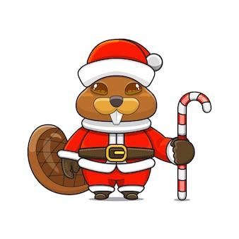 Illustration vectorielle de mascotte de castor monstre mignon portant un costume de père noël tenant une canne en bonbon