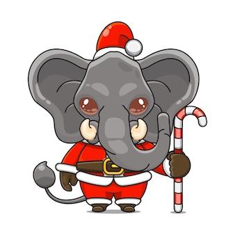 Illustration vectorielle de mascotte d'éléphant monstre mignon portant un costume de père noël tenant une canne en bonbon