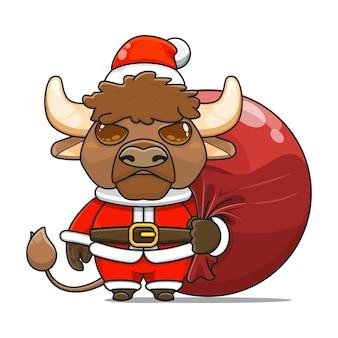 Illustration vectorielle de la mascotte mignonne de monstre de bison portent le sac de paquet de santa