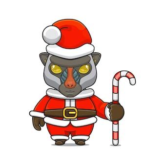 Illustration vectorielle de mascotte monstre mignon portant un costume de père noël tenant une canne en bonbon