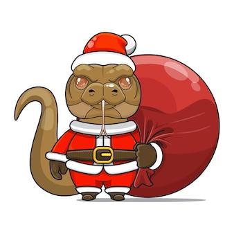 Illustration vectorielle de la mascotte de monstre de reptile mignon transporter un sac de paquet de santa