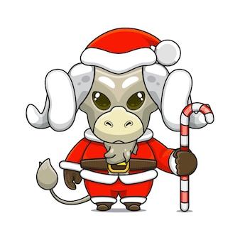 Illustration vectorielle de mascotte de mouton monstre mignon portant un costume de père noël tenant une canne en bonbon