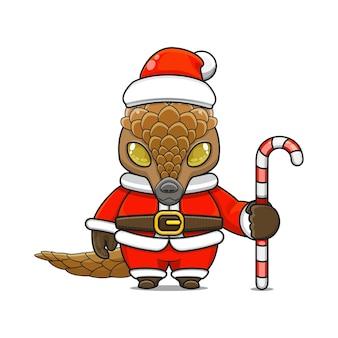 Illustration vectorielle de mascotte de pangolin monstre mignon portant un costume de père noël tenant une canne en bonbon