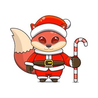 Illustration vectorielle de mascotte de renard roux monstre mignon portant un costume de père noël tenant une canne en bonbon