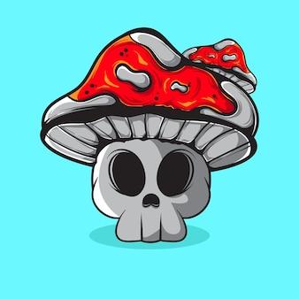 Illustration vectorielle de mashroom de crâne