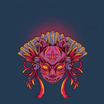 Illustration vectorielle de masque kitsune japonais