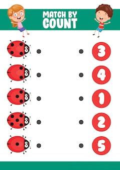 Illustration vectorielle de match par compte exercice