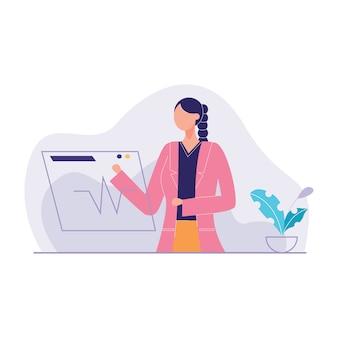 Illustration vectorielle de médecin à la recherche d'informations base de données