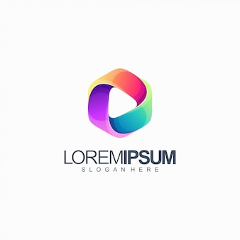 Illustration vectorielle de médias colorés logo design