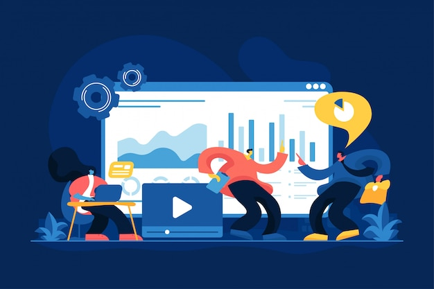 Illustration vectorielle de médias sociaux tableau de bord concept