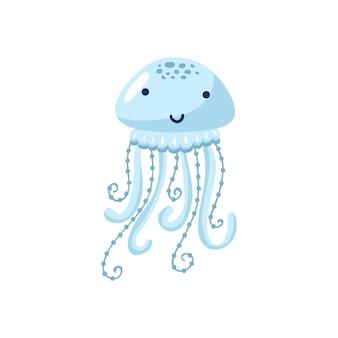 Illustration vectorielle de méduses drôles de dessin animé isolé sur fond blanc. animal mignon, personnage d'animal marin utilisé pour le magazine, le livre, l'affiche, la carte, l'invitation aux enfants, les pages web.