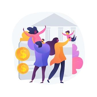 Illustration vectorielle de membre de la famille à charge concept abstrait. frère et soeur à charge, aide aux personnes âgées, enfant mineur, parent handicapé, mari ou femme malade, maladie grave, métaphore abstraite du soignant.
