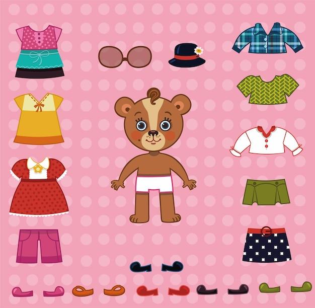 Illustration vectorielle de mère ours personnage pour jeux d'habillage de poupée en papier