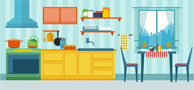 Illustration vectorielle de meubles de cuisine