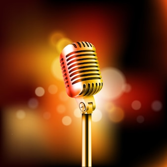 Illustration vectorielle de microphone brillant. concept de spectacle de comédie stand-up