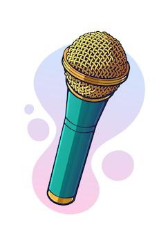 Illustration vectorielle microphone moderne pour le son de la musique vocale parle d'enregistrement radio