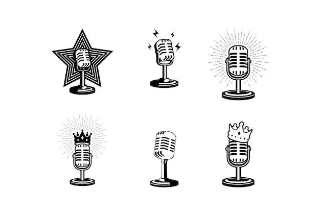 Illustration vectorielle de microphone rétro élément de conception pour le logo de podcast ou de karaoké